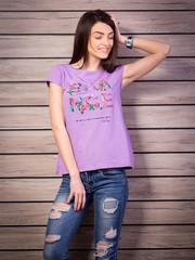 Футболки лилового цвета с принтом. Печать на футболках любого принта.